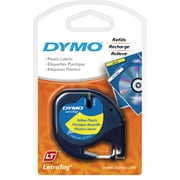"""DYMO® LetraTag Label Tape, 12mm (1/2"""") Black on Yellow"""