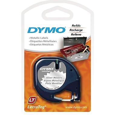 DYMO® - Ruban d'étiquettes LetraTag, 12 mm (1/2 po), noir sur argent métallique