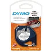 "DYMO® LetraTag Label Tape, 12mm (1/2"") Black on Silver Metallic"