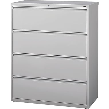 Hirsh HL10000 Series Lateral File Cabinet, 4-Drawer, Grey