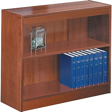 SAFCO Workspace Square Edge Veneer 2-Shelf Bookcase, Medium Oak