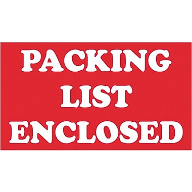 Tape Logic Packing List Enclosed Staples Shipping Label, 5in. x 3in.