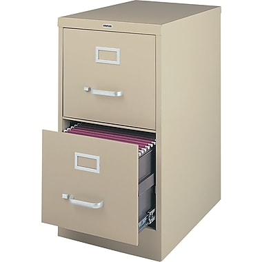 Staples Vertical File Cabinet, 25in. 2-Drawer, Legal Size,  Putty
