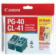 Canon® - Cartouches d'encre PG-40/CL-41 noir/couleur, papier photo 15 feuilles, paquet économique (0615B010)