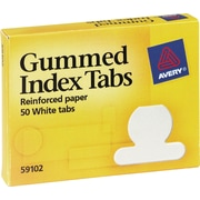 Avery® Gummed Index Tabs, White Round Tabs