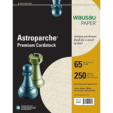 ASTROPARCHE® Cardstock, 8 1/2in. x 11in., 65 lb., Natural, 250/Pack