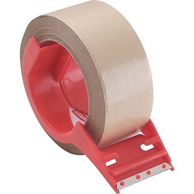 Staples® Paper Packaging Tape with Dispenser, 1.89in. x 43.74 Yards