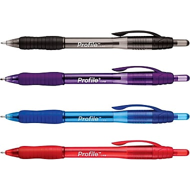 Paper Mate Profile™ Retractable Ballpoint Pens, Bold Point, Assorted, 4/Pack