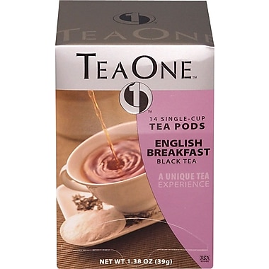 TeaOne® Single Serving Tea Pods, English Breakfast Tea, Regular, .75 oz., 14 Pods