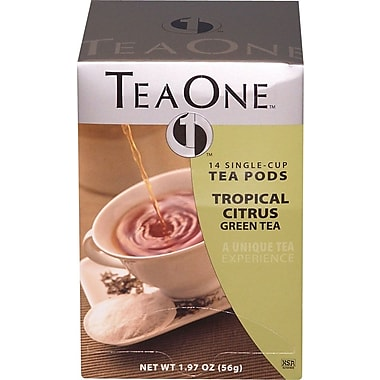 TeaOne® Single Serving Tea Pods, Citrus Green Tea, Regular, .75 oz., 14 Pods