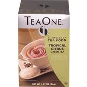 TeaOne® Single Serving Tea Pods, Citrus Green Tea, Regular, .75 oz., 14 Pods