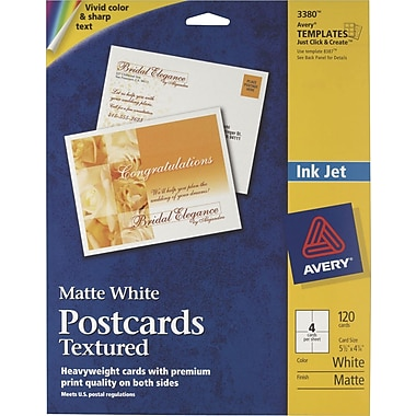 Avery® Textured Inkjet Postcards, 4 1/4in. x 5 1/2in., Uncoated