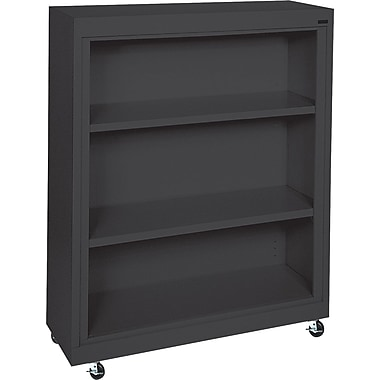 Sandusky 3-Shelf Mobile Bookcase, Black