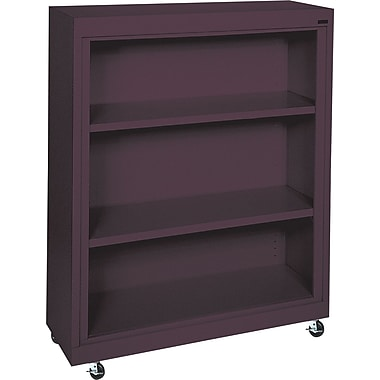 Sandusky 3-Shelf Mobile Bookcase, Burgundy