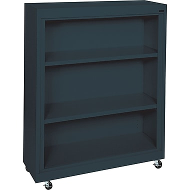 Sandusky 3-Shelf Mobile Bookcase, Charcoal