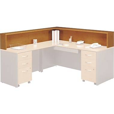 Bush Westfield Reception L-Hutch, Natural Cherry/Graphite Gray, Fully assembled