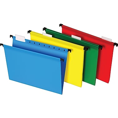 Staples® Poly Hanging File Folders, 5 Tab, Assorted Colors, Letter, 20/Box