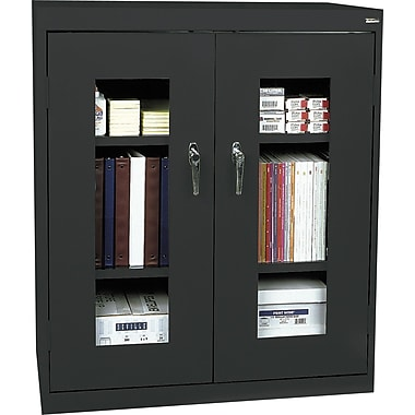 Sandusky Clear View Counter Storage Cabinet, 42in.H x 36in.W x 18in.D, Black