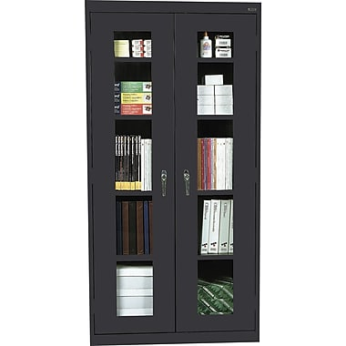 Sandusky Clear View Tall Storage Cabinet, 72in.H x 36in.W x 18in.D, Black