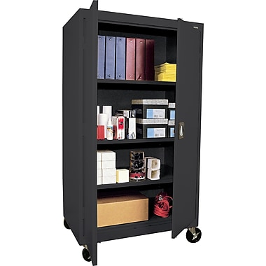 Sandusky Extra Large Mobile Storage Cabinet, 60in.H x 46in.W x 24in.D, Black