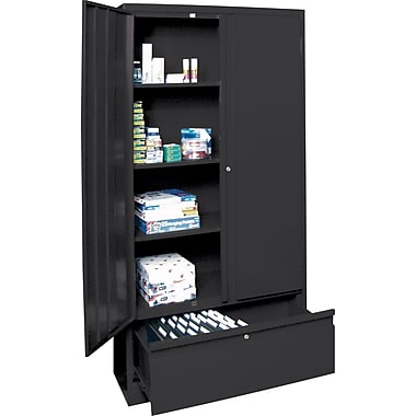 Sandusky Large File and Store Cabinet, 72in.H x 36in.W x 18in.D, Black