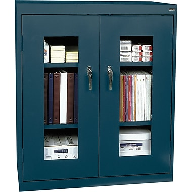 Sandusky Clear View Counter Storage Cabinet, 42in.H x 36in.W x 18in.D, Charcoal