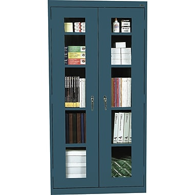 Sandusky Clear View Tall Storage Cabinet, 72in.H x 36in.W x 18in.D, Charcoal