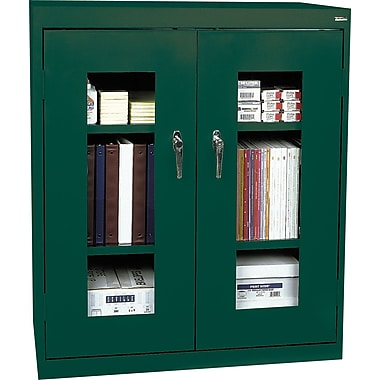 Sandusky Clear View Counter Storage Cabinet, 42in.H x 36in.W x 18in.D, Green