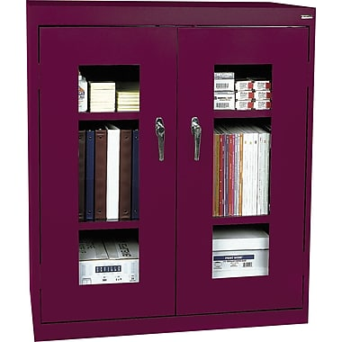 Sandusky Clear View Counter Storage Cabinet, 42in.H x 36in.W x 18in.D, Burgundy