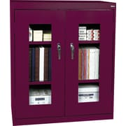 "Sandusky Clear View Counter Storage Cabinet, 42""H x 36""W x 18""D, Burgundy"