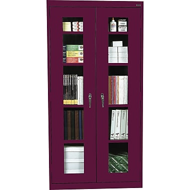 Sandusky Clear View Tall Storage Cabinet, 72in.H x 36in.W x 18in.D, Burgundy