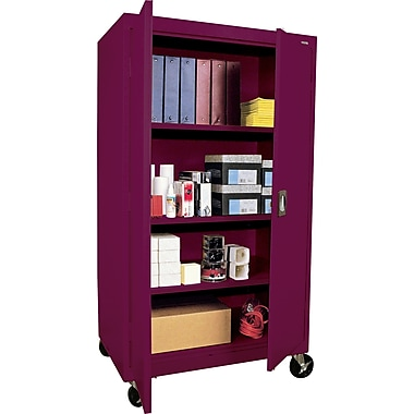 Sandusky Extra Large Mobile Storage Cabinet, 60in.H x 46in.W x 24in.D, Burgundy
