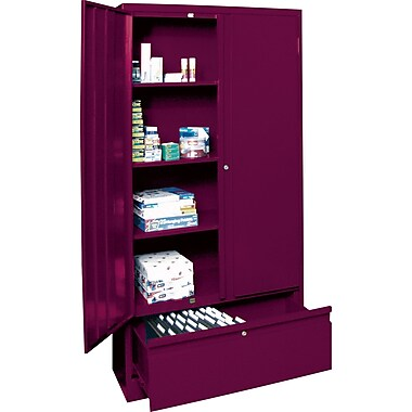 Sandusky Large File and Store Cabinet, 72in.H x 36in.W x 18in.D, Burgundy