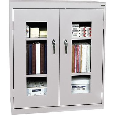 Sandusky Clear View Counter Storage Cabinet, 42in.H x 36in.W x 18in.D, Dove Gray