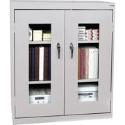 "Sandusky Clear View Counter Storage Cabinet, 42""H x 36""W x 18""D, Dove Gray"