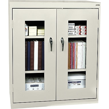 Sandusky Clear View Counter Storage Cabinet, 42in.H x 36in.W x 18in.D, Putty