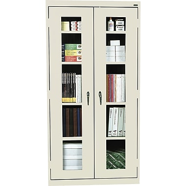 Sandusky Clear View Tall Storage Cabinet, 72in.H x 36in.W x 18in.D, Putty