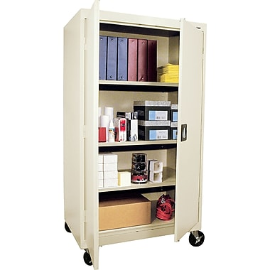 Sandusky Extra Large Mobile Storage Cabinet, 60in.H x 46in.W x 24in.D, Putty