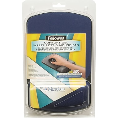 Fellowes Microban Wrist Rest and Mouse Pad, Sapphire/Black
