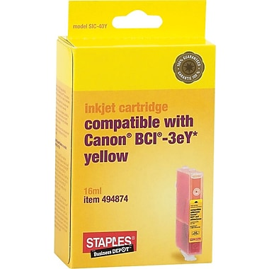 Staples® Compatible Yellow Ink Cartridge, Canon BCI-3eY (SIC-40Y)