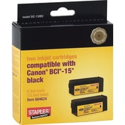 Staples® Compatible Black Ink Cartridges, Canon BCI-15, Twin Pack (SIC-130B2)
