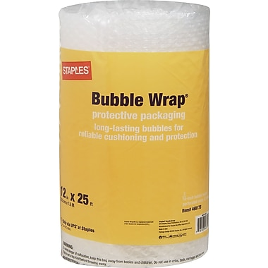 Staples® Standard Bubble Wrap®, 12in. x 25'