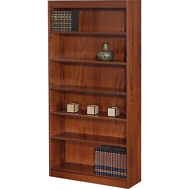 SAFCO Workspace Square Edge Veneer 6-Shelf Bookcase, Mahogany