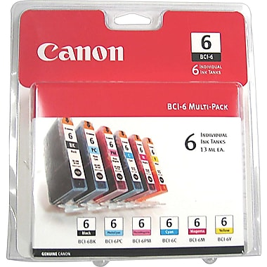 Canon BCI-6 Black and Color Ink Cartridges, 6/Pack