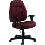 Global High-Back Fabric Task Chair, Adjustable Arms, Burgundy