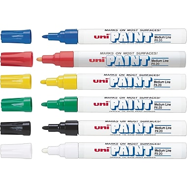uni® Paint Markers, Assorted, 6/Pack