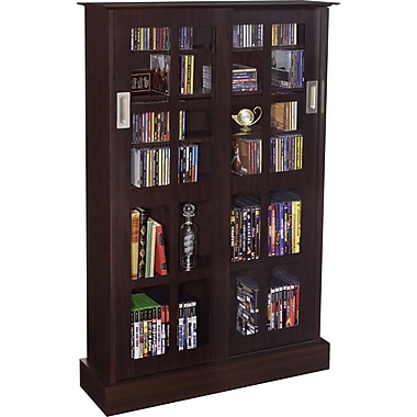 Atlantic Windowpanes Media Storage Cabinet with Sliding Glass Door, Espresso