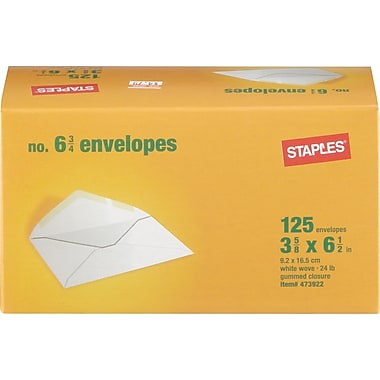Staples  #6-3/4 Gummed White Wove Standard Business Envelopes, 125/Box