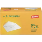 "Staples Gummed V-Flap #6-3/4 Standard Business Envelopes, 3 5/8"" x 6 1/2"", White Wove, 125/Box (473922/19701)"