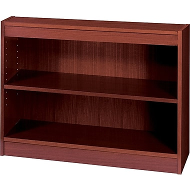 SAFCO Workspace Square Edge Veneer 2-Shelf Bookcase, Mahogany